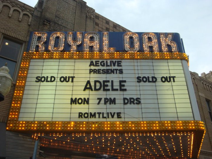 Marquee for Adele at Royal Oak Music Theatre, 5/23/11