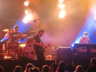 055 - Jason McGerr on drums, Nick Harmer on bass, Ben Gibbard on piano, Death Cab For Cutie in Michigan 7-4-12